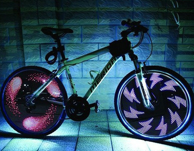 Leadbike-Bicycle-Wheel-Light-Double-Display-21-Flash-Patterns-With-32-RGB-LED-Lights-Lamp-for